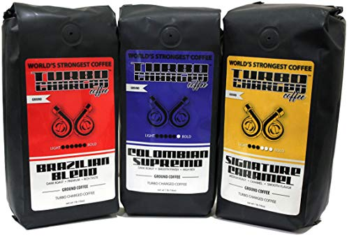(World's Strongest Coffee - Turbo Charged Coffee - Ground Coffee (Race Pack, 3 x 16oz bag))