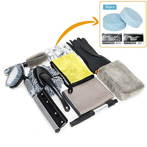 Wemk Car Cleaning Tools Kit - 9Pcs Car Wash Kit with Extra Gloves and 30Pcs Car Windshield Tablets - Wax Applicator Wash Sponge Mitts - Supplies for Car and Motorcycle Enthusiasts