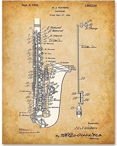 Saxophone - 11x14 Unframed Patent Print - Makes a Great Gift Under $15 for Saxophone Players or Fans of Jazz or Blues Music ()
