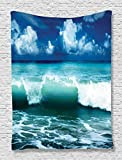Ambesonne Navy Blue Tapestry Ocean Surf Waves Decor, Caribbean Sea and Water Splash Picture for Surfers Print, Bedroom Living Kids Girls Boys Room Dorm Accessories Wall Hanging, Navy Blue White