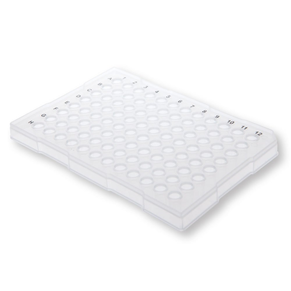 96-Well Semi-Skirted PCR Plate, Raised Rim, Natural, 25 Plates/Unit