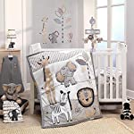Lambs-Ivy-Jungle-Safari-100-Cotton-WhiteGray-ElephantLion-Fitted-Crib-Sheet