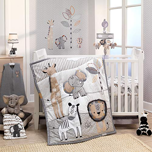 Crib Bedding Bundle Set - Lambs & Ivy Jungle Safari Gray/Tan/White Nursery 6-Piece Baby Crib Bedding Set