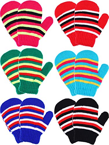 Boao 6 Pairs Stretch Mittens Winter Warm Knitted Gloves for Halloween Party Kids Toddler Supplies (Color 3)