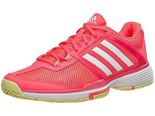 adidas Performance Women's Barricade Club w Tennis Shoe, Flash Red White/Ice Yellow Fabric, 9.5 M US