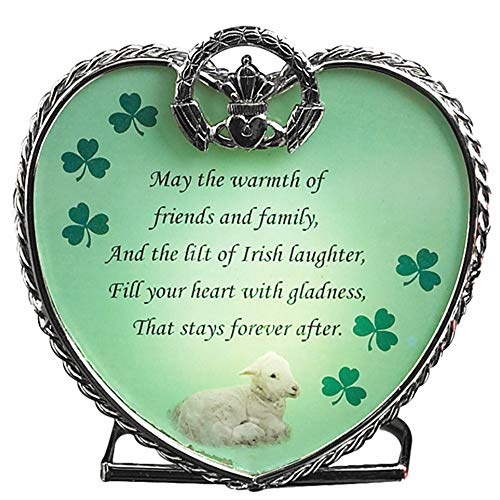 BANBERRY DESIGNS Irish Tea Light Candle Holder - Irish Blessings Poem on Glass Heart - Claddagh and Green Shamrocks- St. Patrick's Day Decorations Gift
