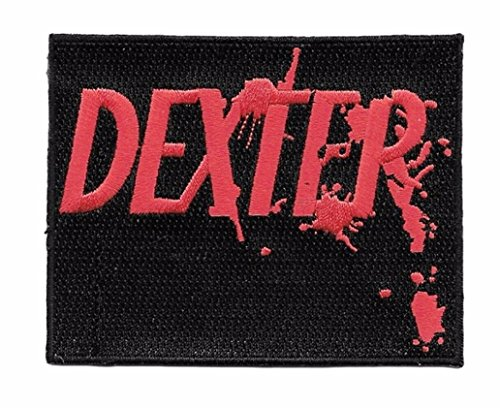 Dexter Red Logo on Black Embroidered Iron On Patch - Dexter Patches