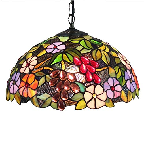 Tiffany Style Pendant Lights, Vintage 16 inch Stained Glass Art Chandelier/Pendant Lamp, Modern and Simple Bar Dining Room Bedchamber Balcony Grape Flower Design Pendant Lamp E27 Without Light Sourc