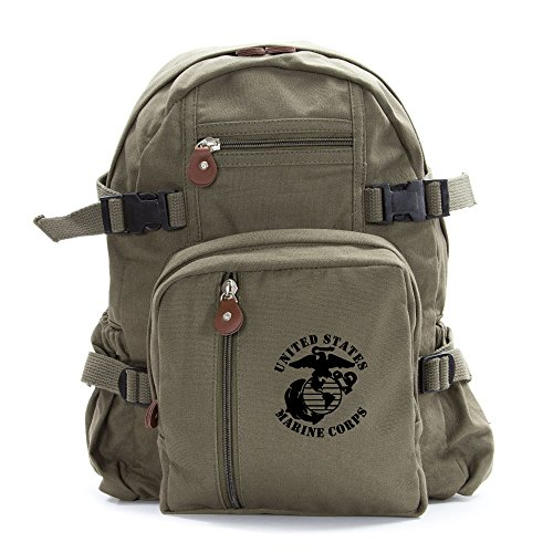 United States Marine Corps Army Sport Heavyweight Canvas Backpack Bag in Olive & Black, Small
