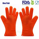 FDA Approved Best Silicone BBQ Gloves Oven Mitts Heat Resistant Pot Holder For Kitchen Baking Smoking Cooking Grilling Cleaning