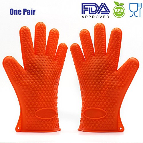FDA Approved Unexcelled Silicone BBQ Gloves Oven Mitts Heat Resistant Pot Holder For Kitchen Baking Smoking Cooking Grilling Cleaning