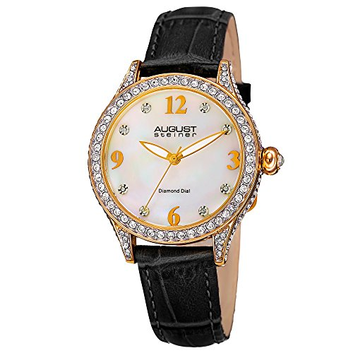 August Steiner Women's AS8188BKG Yellow Gold Crystal Accented Quartz Watch with White Mother of Pearl Dial and Black Embossed Leather - Dial Leather Black Pearl