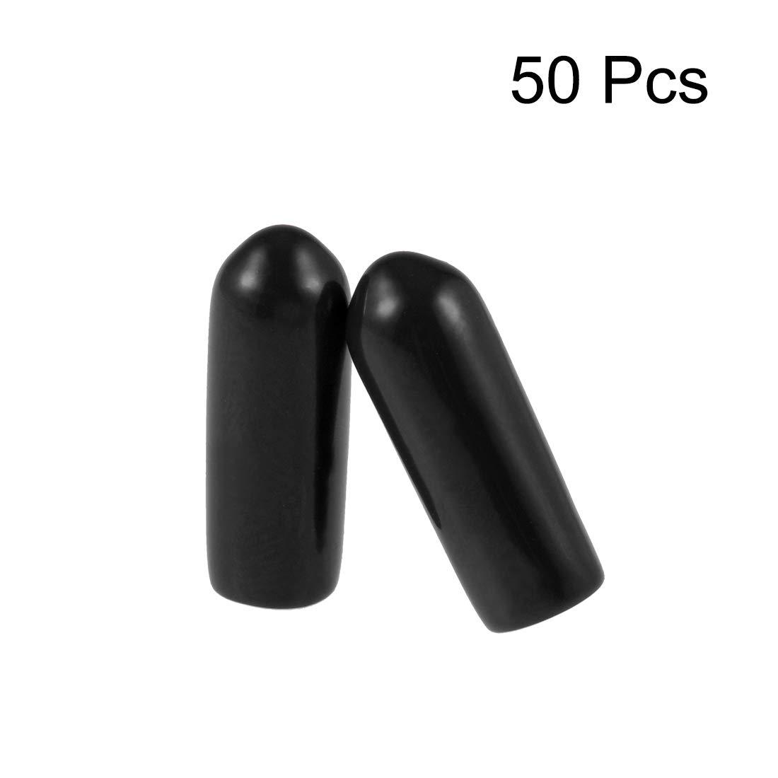 uxcell Screw Thread Protectors 2mm ID Round End Cap Cover Black Flexible Tube Caps Tubing Tip 50pcs