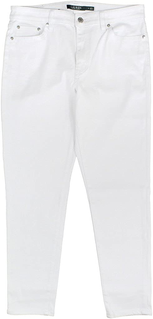 2f62898a3e Lauren Ralph Lauren Women s Super Stretch Premier Straight Jeans Size 8  White at Amazon Women s Jeans store