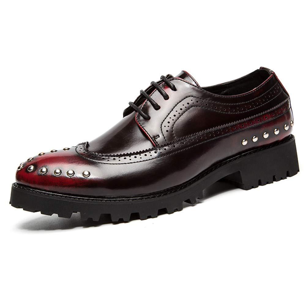 Ofgcfbvxd Boda del Zapato de Negocios de los Hombres Oxford Personalidad Retro Wipe Color Remaches Zapatos Brogue Calzado Formal con Cordones (Color : Negro, tamañ o : 37 EU) tamaño : 37 EU)