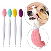 #LightningDeal 92% claimed: Dog toothbrush, Double-sided soft silicone gentle dental brushes kit with curved long handle