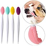 FOMATE Dog Toothbrush, Double-Sided Soft Silicone Gentle Dental Brushes kit with Curved Long Handle