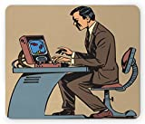 Lunarable Gamer Mouse Pad, Old School Cartoon Figure Playing Colorful Retro Brick Game Pop Art Illustration, Standard Size Rectangle Non-Slip Rubber Mousepad, Multicolor