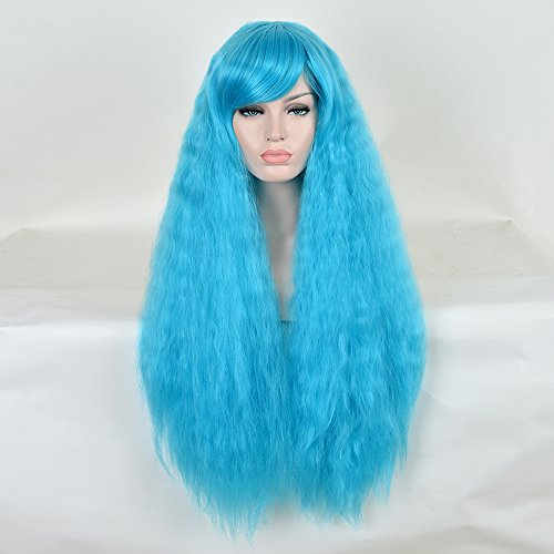 [SiYi Long Deep Curly Wavy Wig Afro Kinky Curly Synthetic Heat Resistant Hair Wigs Full Blue Costume Wigs for Women Girls] (Homemade Funny Costumes For Women)