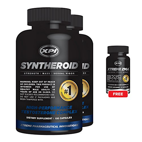 Syntheroid 2 Pack and 1 Free Xtreme ZMA 21 - Testosterone Booster and Weight Loss for Men - Build Lean Muscle Mass Building Bone Mass