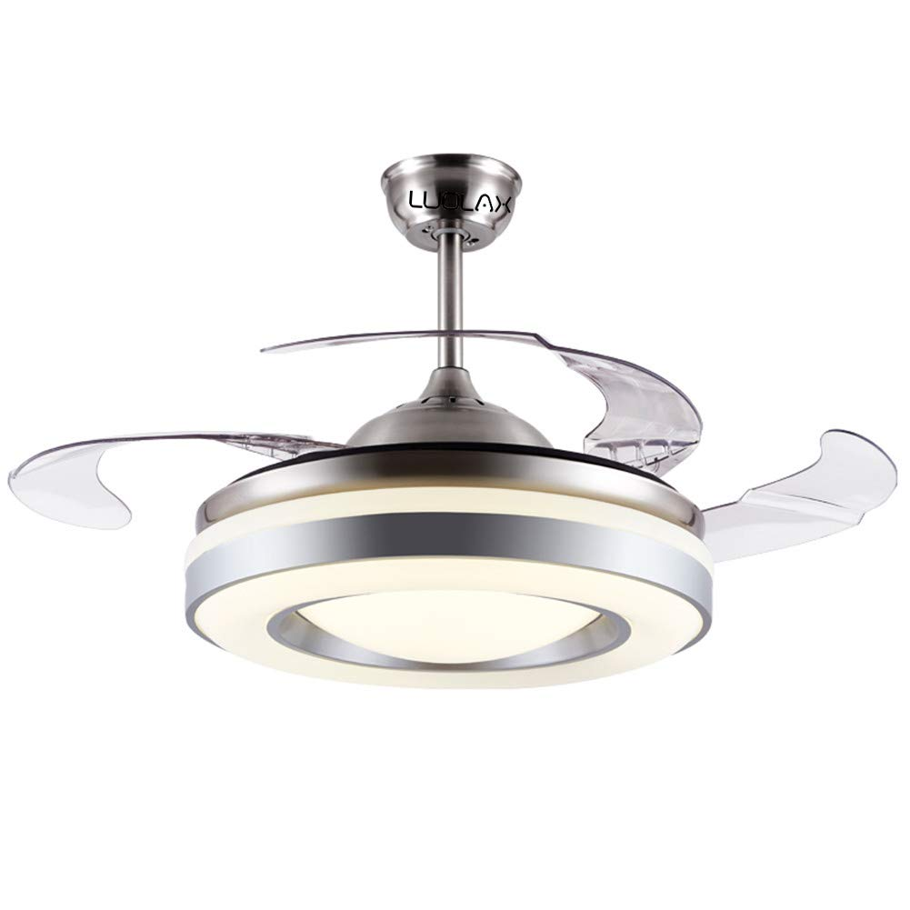 LUOLAX Modern Ceiling Fan Lights with Retractable Invisible Blades and Remote Control with Silent Motor for Living Room Bedroom Restaurant 42 Inch-Style 3