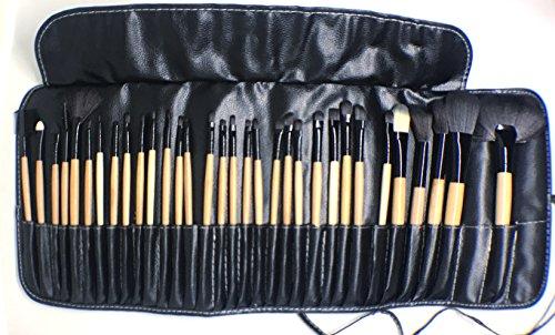 Set profesional de brochas para maquillaje 32 piezas | Mango de Madera | Cerdas Blandas y Aterciopeladas | Ideal para aplicar...