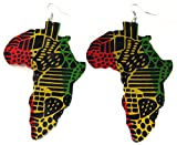 Africa Rasta Earrings''Reggae Earrings'' Jamaican Earrings -Rastafarai Earrings-Africa Map Earrings-Drop Rasta Earrings (Africa Rastafari)