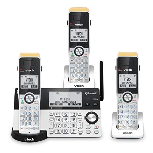 VTech IS8151-3 Super Long Range 3 Handset DECT 6.0 Cordless Phone for Home with Answering Machine, 2300 ft Range, Call…