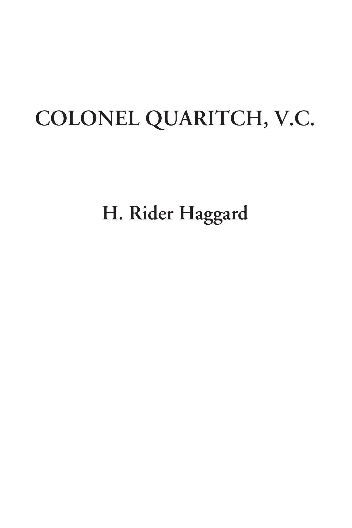 Download Colonel Quaritch, V.C. PDF