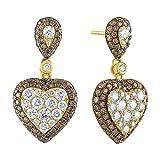 Brand New 2.59Ct Natural Brown & White Diamond Designer Push Back Earring, 14k Yellow Gold