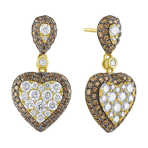 Brand New 2.59Ct Natural Brown & White Diamond Designer Push Back Earring, 14k Yellow Gold by Prism Jewel