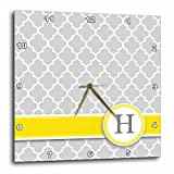 Cheap 3dRose Your Personal Name Initial Letter H – Monogrammed Grey Quatrefoil Pattern – Personalized Yellow Gray – Wall Clock, 10 by 10-Inch (dpp_154574_1)