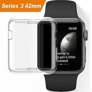 Apple watch 3 case, Julk iwatch screen protector tpu all-around protective case 0.3mm hd clear ultra-thin cover for 2017 new apple watch series 3 (42mm)
