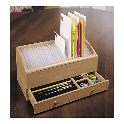Natural Wood Space Saver Letter and Bill Organizer with Compartments Drawer and 31 Slots
