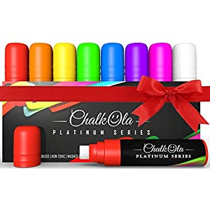 Window Markers - 15mm Jumbo - 3 in 1 Nib with 28g Ink - Pack of 8 neon chalk pens - Loved by Teachers, Kids, Artists, Businesses. Use on Chalkboard, Whiteboard, Blackboard Glass, Bistro