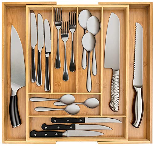 Secura Bamboo Expandable Drawer Organizer, Silverware Utensil Holder and Cutlery Tray for Kitchen, Office, Bathroom and…