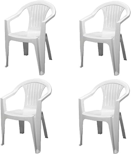 Sedia Bianca con Braccioli | 4 Pezzi | Poltroncina in Plastica Impilabile da Giardino Garden Bar Interno Esterno Campeggio Balcone Pizzeria