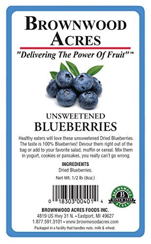 Unsweetened Dried Blueberries by Brownwood Acres - No Added Sugars, Oils or fillers - Just Blueberries! (1/2 Pound) by Brownwood Acres (Image #1)