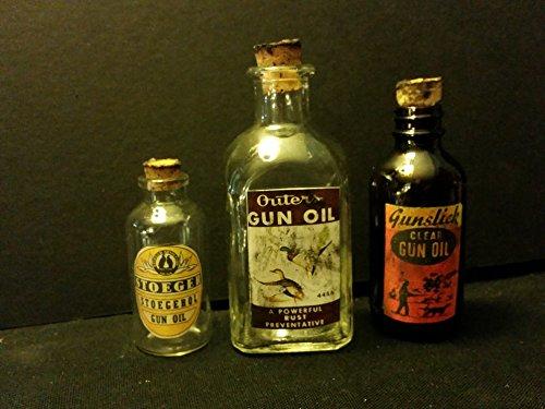 3...Vintage Style Gun Oil Glass Bottles Outer's, Gunslick & Stoeger...by .Artist (Bottle Glass Gun)