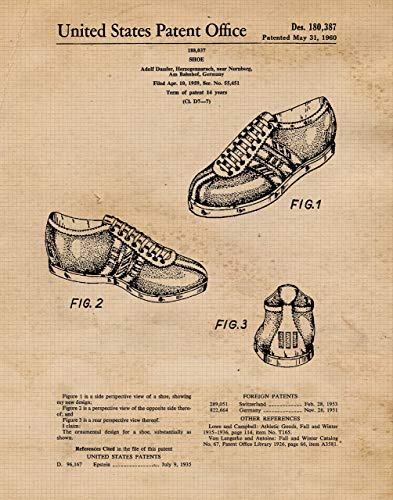 Original Adidas Patent Poster Print- Set of 1 (One 11x14) Unframed Picture- Great Wall Art Decor Gifts Under $15 for Home, Office, Garage, Man Cave, Teacher, Yeezy-Stan Smith-Pharell-Superstar Fan