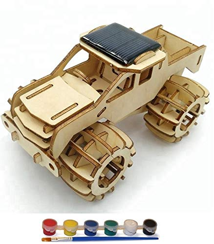 Original Hobby Wood Craft 3D Puzzle (Solar Powered Monster Truck) with 6 Paints