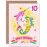 Unicorn Seahorse Narwhal 10th Birthday Greeting Card with Envelope Blank Inside Premium Quality