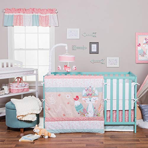 TL 3 Piece Baby Girls Pink Blue White Woodland Creatures Crib Bedding Set, Newborn Animal Themed Nursery Bed Set, Infant Child Floral Flowers Paisley Fox Nature Tribal Blanket Quilt, Cotton Polyester