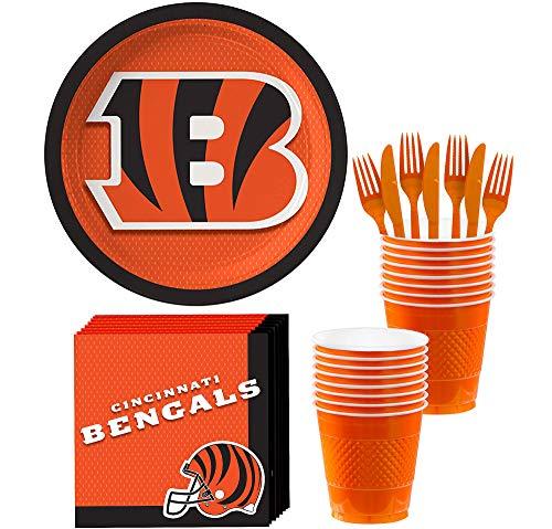 Cincinnati Bengals Party Supplies (Party City Cincinnati Bengals Party Supplies for 18 Guests, Include Paper Plates, Paper Napkins, Cups, and)
