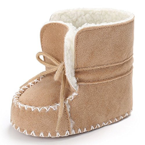Meeshine Baby Newborn Infant Fleece Slippers Winter Warm Toddler Girl & Boy Prewalker Snow Boots Booties Crib Shoes(Small/0-6 Months,Khaki) (Booties Knitted)