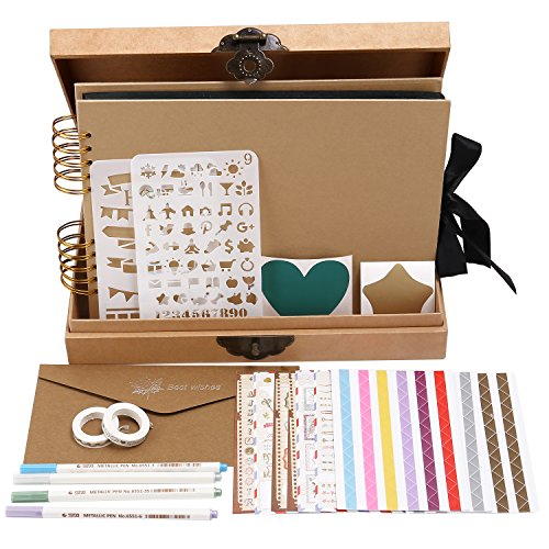 INNOCHEER Scrapbook Classic Photo Album Storage Box, 80 Pages Craft Paper DIY Anniversary,, Wedding Photo Album DIY Accessories Kit