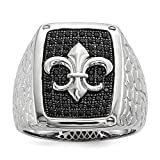 925 Sterling Silver Black Cubic Zirconia Cz Mens Band Ring Size 9.00 Man Fleur De Lis Fine Jewelry Gift For Dad Mens For Him