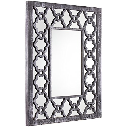 American Art Decor Rustic Gray Trellis Wall Vanity Accent Mirror (36