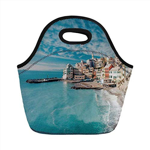 Charm Italian Fruit (Portable Bento Lunch Bag,Farm House Decor,Panorama of Old Italian Fish Village Beach Old Province Coastal Charm Image,Turquoise,for Kids Adult Thermal Insulated Tote Bags)