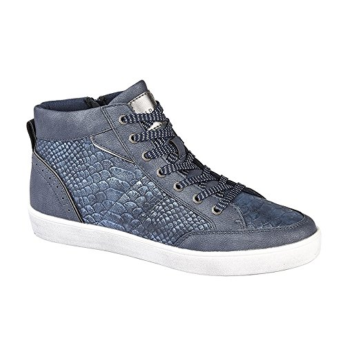 con de cordones de estampado metalizado Botines reptil cremallera Aria Marino Zapatillas piel modelo para con y mujer Azul Cipriata qnEvA8wx